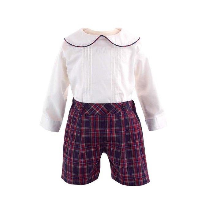 Rachel Riley Pintuck Shirt & Tartan Short Set  Navy/Ivory/Red