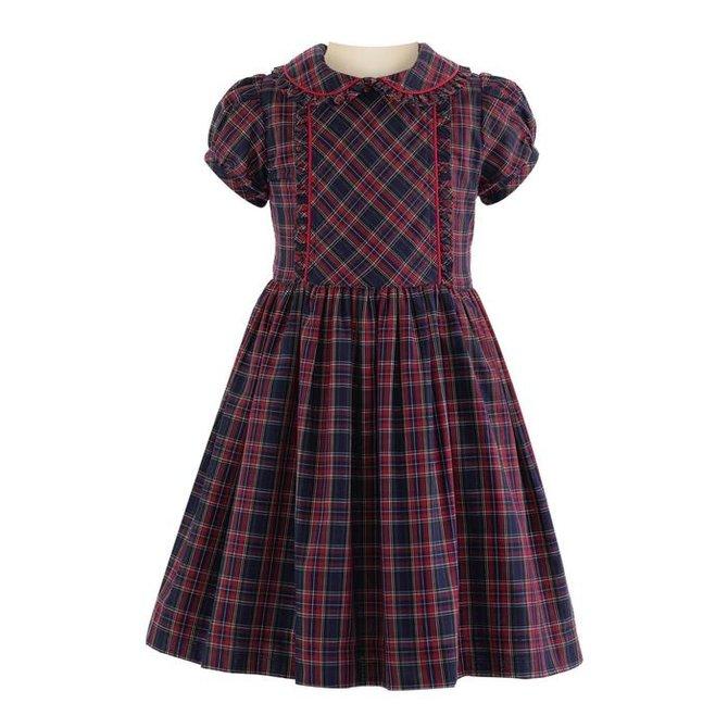 Rachel Riley Tartan Frill Dress Navy-Red