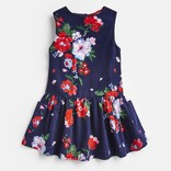 Joules Pincord Pinafore Dress Navy Floral
