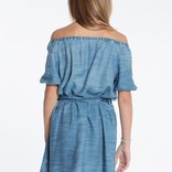 Bella Dahl Puff Sleeve Button Front Dress Ocean Wash