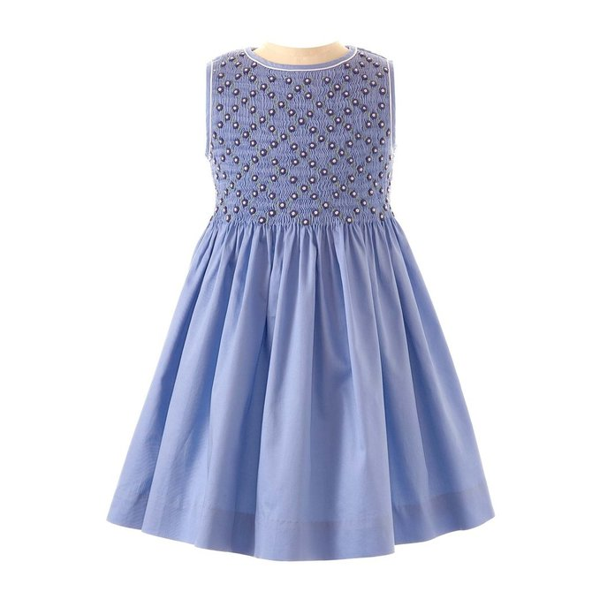 Rachel Riley Rose Lattice Dress Blue