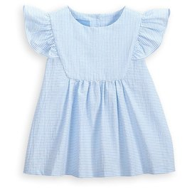 Bella Bliss Tatum Blouse Blue Seersucker Stripe