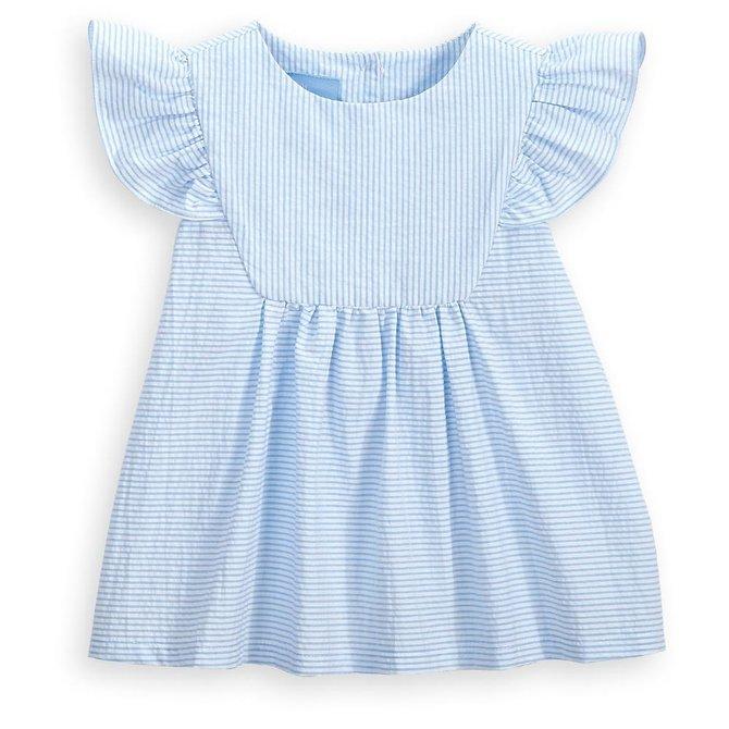 Bella Bliss Tatum Blouse Blue Seersucker Stripe