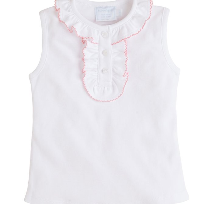 Little English Ruffled Henley- Pink or Blue