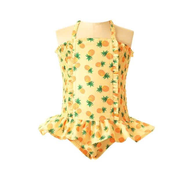 Rachel Riley Pineapple Ruched Swimsuit Yellow
