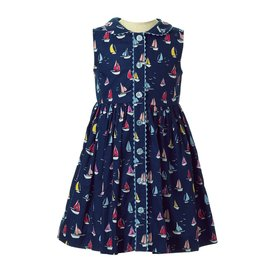 Rachel Riley Sailboat Button Front Dress