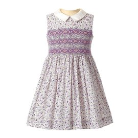 Rachel Riley Ditsy Floral Smocked Dress Lilac