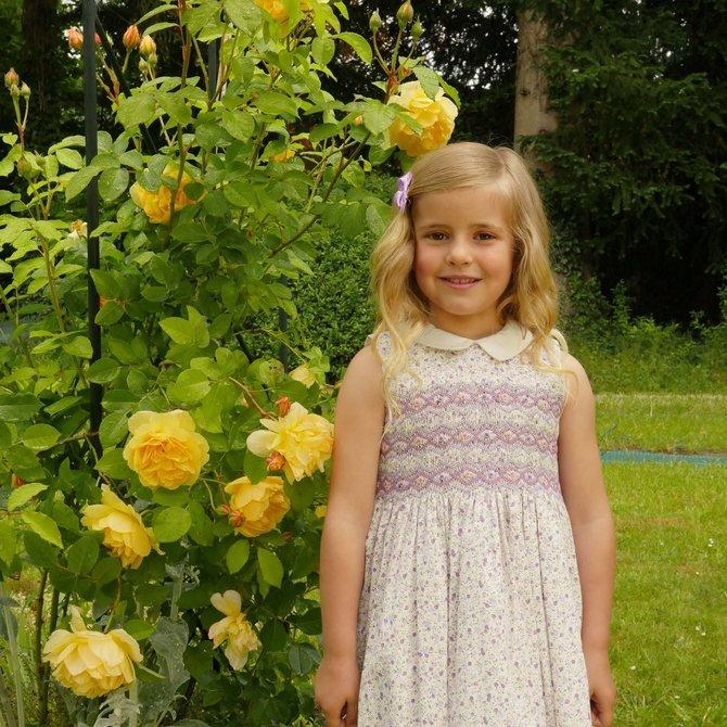 Rachel Riley Ditsy Floral Smocked Dress Lilac