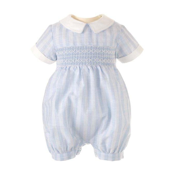 Rachel Riley Striped Geometric Smocked Babysuit-Blue or Pink