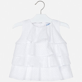 Mayoral White Eyelet Ruffled Blouse