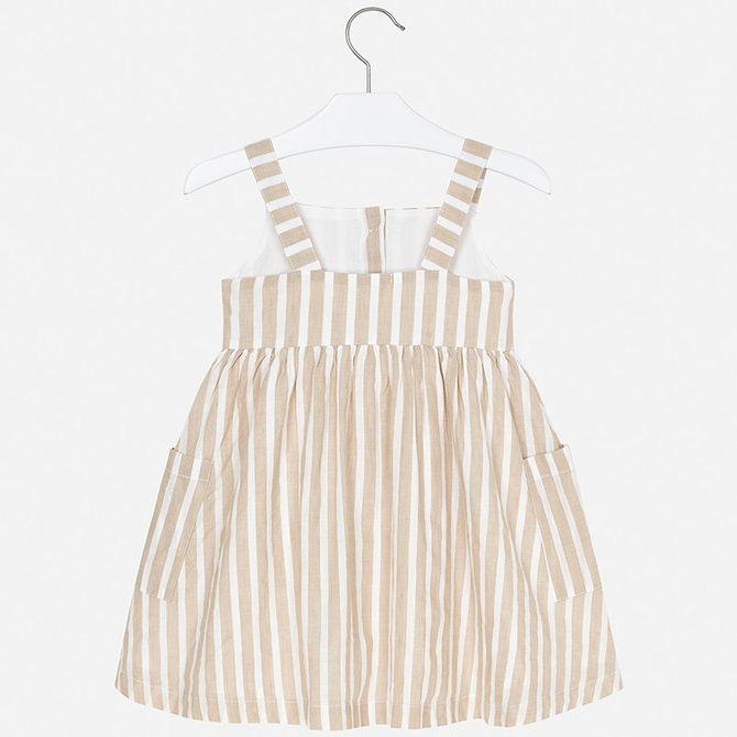 Mayoral Tan Stripes Linen Dress