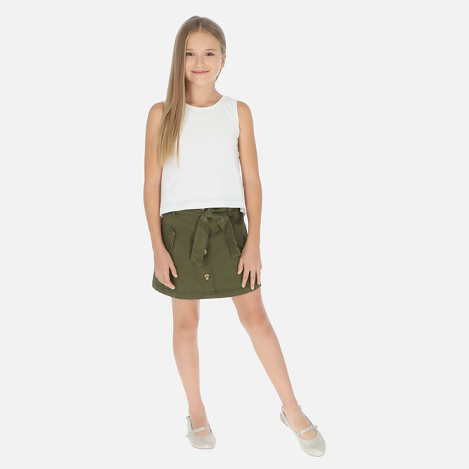 Mayoral Olive Green Twill Skirt