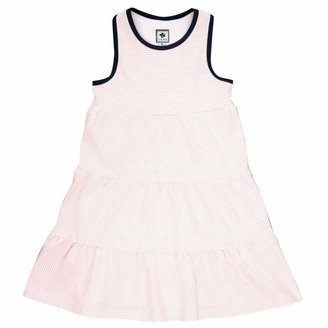 Busy Bees Racerback Dress- Light Pink Stripe Knit
