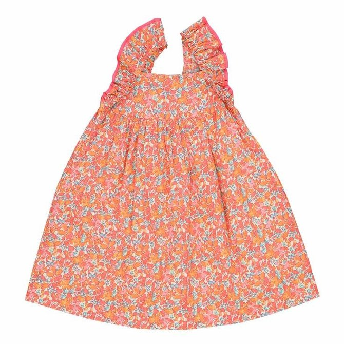 Busy Bees Sawyer Dress- Coral Floral