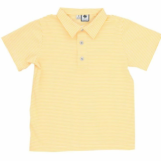 Busy Bees Polo - Mini Yellow Stripe Knit