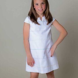 Sophie & Lucas Gabby Girls Embroidered White Pique Shift