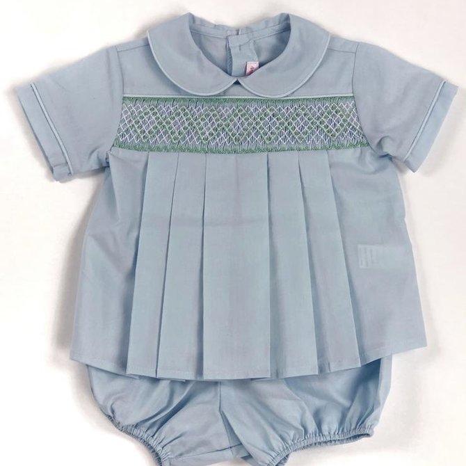 Peggy Green Smocked Diaper Set - Blue Batiste Bloomer