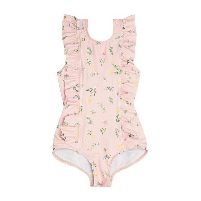 Minnow Swim Girls Botanical Pink Ruffle One Piece