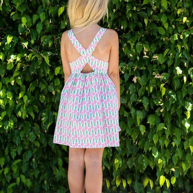 Smiling Button Pineapple Kiss Dress