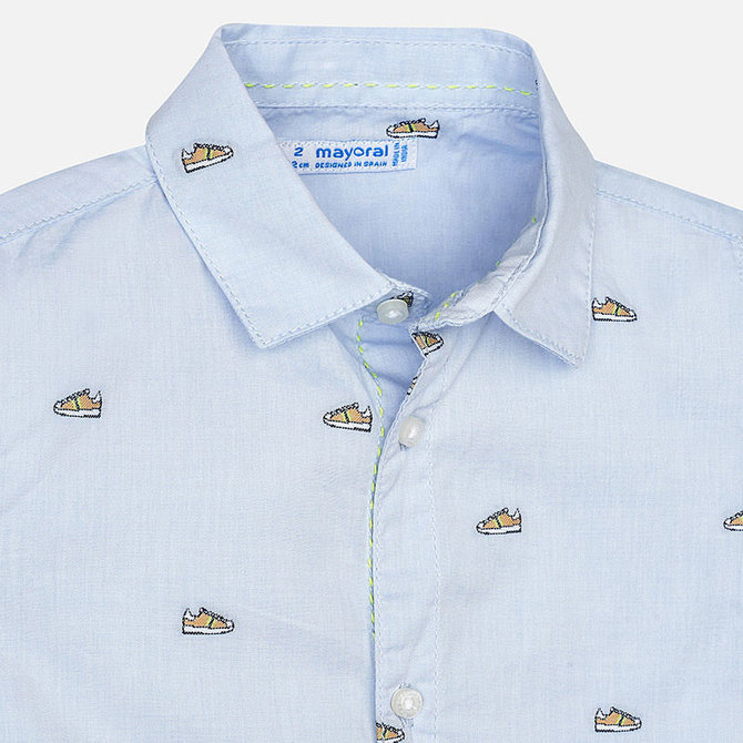 Mayoral Short Sleeve Sneaker Stamped Button Down