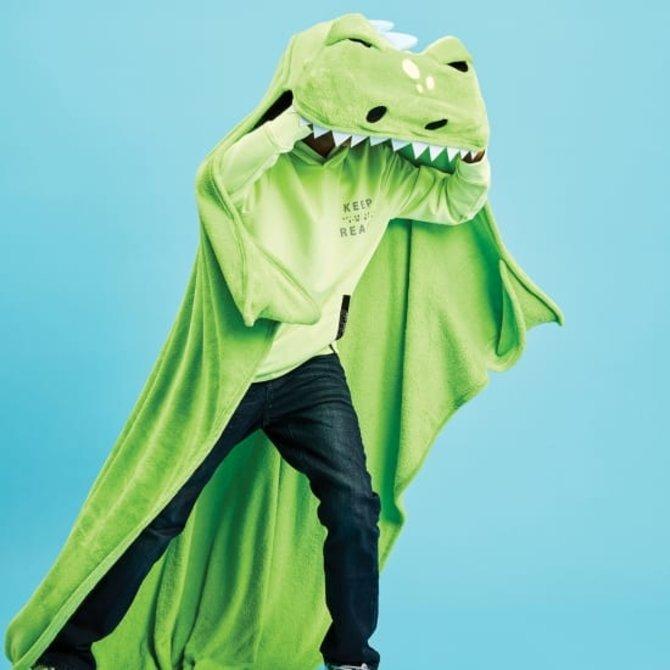 Iscream Dinosaur Hooded Plush Blanet