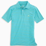 Southern Tide Shoreline Blue Youth Driver Stripe Performance Polo