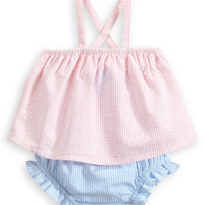 Bella Bliss Bella Bliss Bow Back Bloomer Set Pink Seersucker
