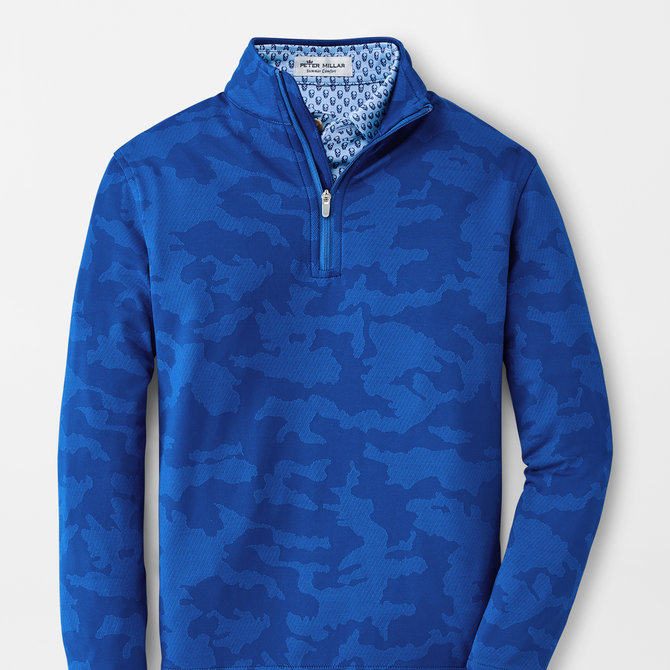 Peter Millar Youth Perth Camo 1/4 Zip Blue Lapis