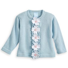 Bella Bliss Applique Floral Cardigan Blue Knit