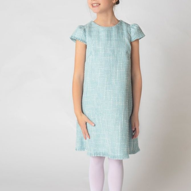 Gabby Boucle Blue A-Line Dress