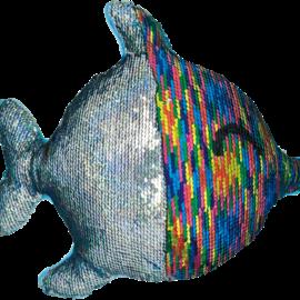 Iscream Rainbow Fish Reversable Sequin Pillow