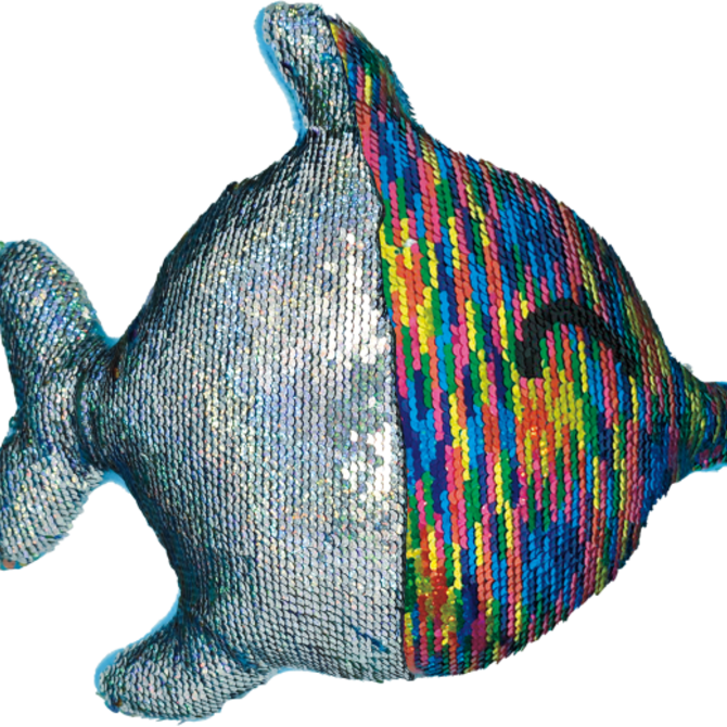 Iscream Rainbow Fish Reversable Sequin Pillow