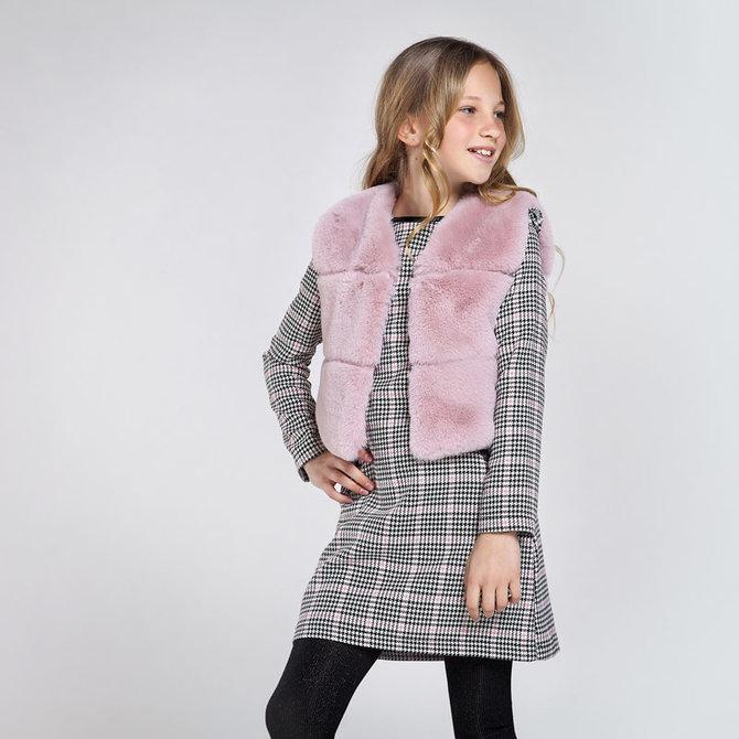 Mayoral Pink Fur Vest