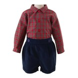 Rachel Riley Boys Tartan Shirt and Short Set Red/Navy