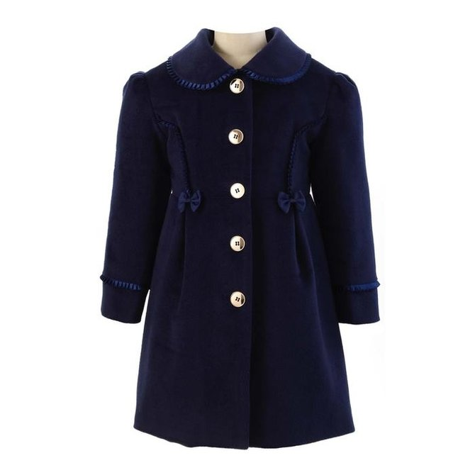 Rachel Riley Frill Collar Skating Coat Navy