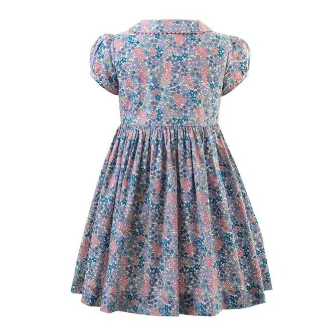 Rachel Riley Winter Floral Button Front Dress Blue