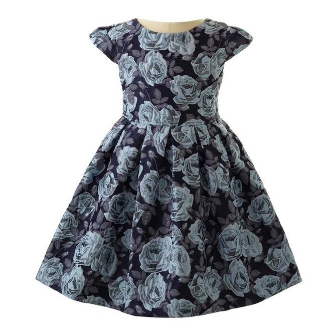 Rachel Riley Blue Rose Damask Dress