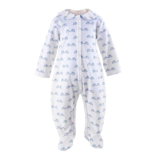 Rachel Riley Elephant Babygro Blue/Ivory