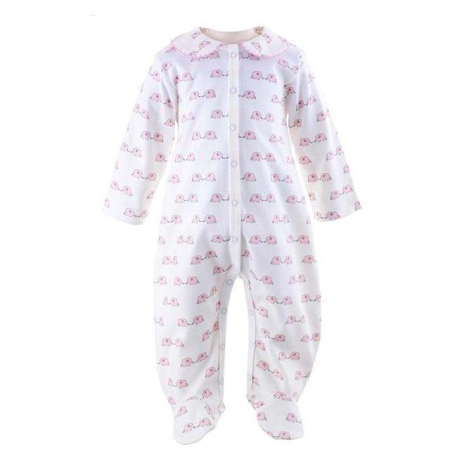 Rachel Riley Elephant Babygro Pink/Ivory