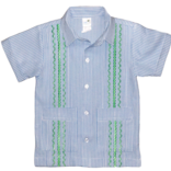 Six Honeybees Guayabera Shirt Blue/White Check w Green Stitch