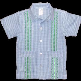 Six Honeybees Boys Guayabera Shirt Blue/White Check w Green Stitch