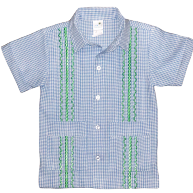Six Honeybees Boys Guayabera Shirt Blue/White Check w Green Stitch