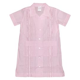 Six Honeybees Guayabera Dress Pink Gingham w/ Light Pink