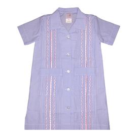 Six Honeybees Girls Guayabera Dress Blue Check w/ Light Pink