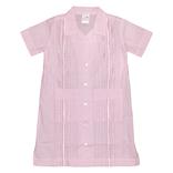 Six Honeybees Girls Guayabera Dress Light Pink Gingham