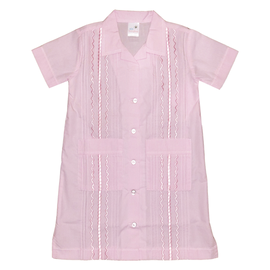 Six Honeybees Guayabera Dress Light Pink Gingham