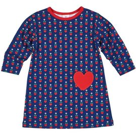 Florence Eiseman Navy/Red Heart Print Dress
