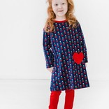 Florence Eiseman Navy/Red Heart Print Dress