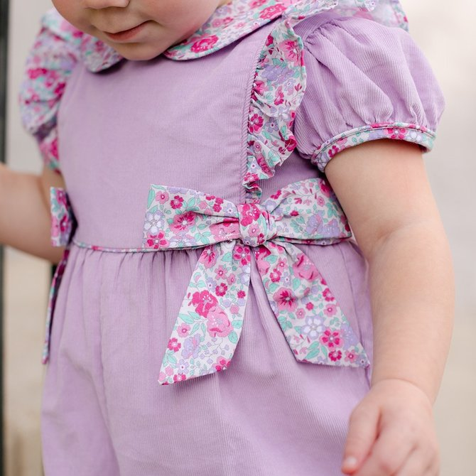 Little English Caroline Bow Romper Lavender