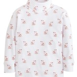 Little English Girls Cow Printed Turtleneck